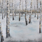 """""""Birch Ballad"""" by Anna Segner, Owatonna, MN. Acrylic Paint and Torn Text on Canvas. 16""""x5""""x12"""", 2016, $350"""