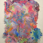 """""""Lagdeling Blomster"""" by Kara Maloney, Luther College. Acrylic, Charcoal, Chalk Pastel, and Vellum Collaged on Paper. 26""""x33"""", 2015, NFS"""