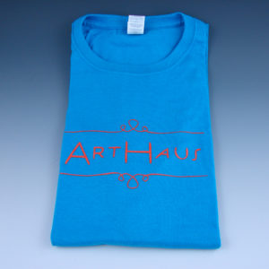 arthaus shirt blue with orange ink
