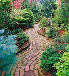 A dye garden with a brick path running through the center